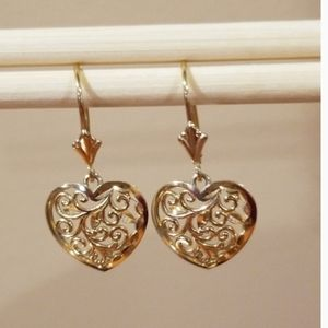 💖Valentines Gift-14K Gold Filigree Heart Earrings
